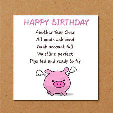 Funny Birthday Card Friend Girlfriend Mum Daughter Pigs might Fly Amusing BFF