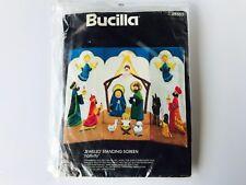 NEW Vintage Bucilla 'JEWELED' Standing Screen Christmas Nativity Kit No. 48653