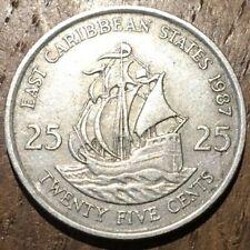 PIECE DE 25 CENTS CARAIBES 1987 (567)