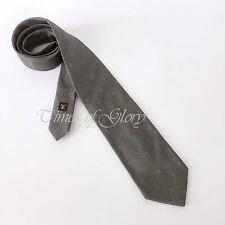 NEW Auth Louis Vuitton Signature LV Logo Monogram Silver Gray Silk Dress Tie