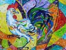 """Akimova: ROOSTER, farm, bird, wax painting,20""""x16"""""""