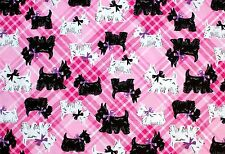 "BLACK & WHITE SCOTTIE DOGS ON  PINK PLAID 100% COTTON FLANNEL 42 x 72"" 2 YDS"