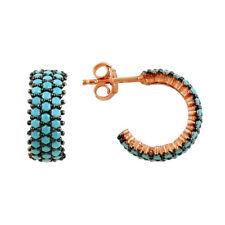925 Sterling Silver 3 Row Turquoise Stone Half Eternity Hoop Stud Post Earrings