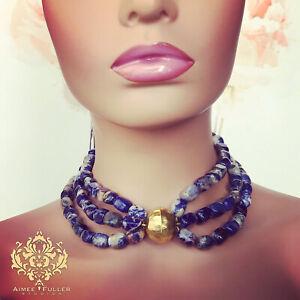 BLUE LAPIS LIKE GENUINE SODALITE Denim Gem Stone Necklace Hammered Gold Jewelry