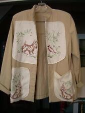 Hand Made Lady's Jacket with Vintage Linens Applied on Front and Back (Dogs)