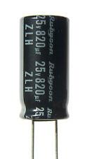 6pcs Rubycon ZLH 820uf 25v 105C Radial Electrolytic Capacitor Low ESR