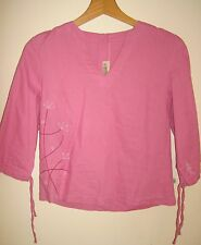 ANIMAL linen mix top BLOUSE SHIRT 10 kawaii urban cartoon pink surf chick
