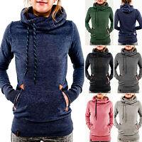 Women Long Hoodie Ladies Hooded Sweatshirt Jumper Fleece Top Dress Pullover Coat