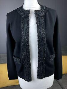Bnwt Hobbs Black Open Detail Edge Pockets Cardigan Jersey Jacket Top Sz S #BE