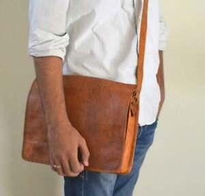 Handmade Vintage Brown Leather Messenger Cross-body Laptop Satchel Bag Men Women