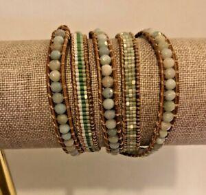 "Victoria Emerson Light Green 35"" Wrap Bracelet"