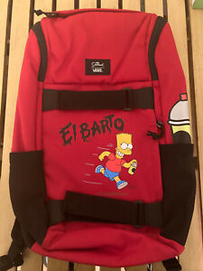 Vans x The Simpsons El Barto Obstacle Spray Paint Red Backpack New With Tags OS