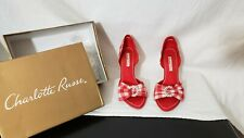 CHARLOTTE RUSSE Womens Platform High Heels Pump Opened Toe RED White Bow