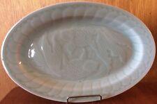 """China Longquan Celadon Koi Fish Goldfish 12"""" Oval Serving Platter"""