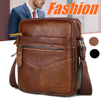 Men's Genuine Leather Business Briefcase Crossbody Travel Shoulder Bag