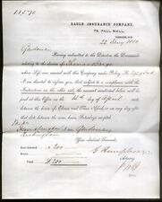 1880 LONDON, EAGLE INSURANCE, 79, PALL MALL, LETTER & FORM RE THOS. BARGE