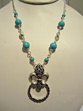 Turquoise Stone Bead Glasses And Card Fleur De Lis Holder Pendant Long Necklace