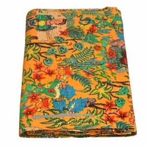 Frida Khalo Indian Handmade Queen Cotton Kantha Quilt Throw Blanket Bedspread