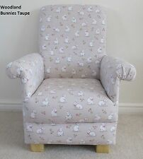 Woodland Bunnies Fabric Child Chair Kids Beige Rabbits Nursery Taupe New Animals
