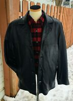 GUESS Black Leather Jacket Large Button Up Cell Phone Pocket Very Soft w Liner