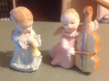 New ListingPair Of Angels Girls Figurines Playing Horn - Playing Cello - Japan