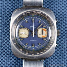 BWC 1970s VINTAGE OVERSIZED 40MM VALJOUX 7733 BLUE DIAL CHRONOGRAPH TACHYMETER