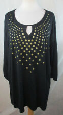 JUST MY SIZE 5X PLUS SIZE KEY HOLE TUNIC BLOUSE SHIRT TOP TEXTURED POLKA DOTS