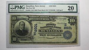$10 1902 Dunellen New Jersey NJ National Currency Bank Note Bill #8501 VF20 PMG!