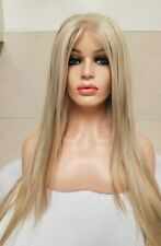 Blonde Human Hair wig, Hand Knotted, Lace Front Highlights Auburn Brown Long