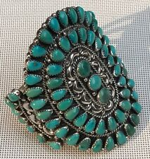 VINTAGE NATIVE AMERICAN NAVAJO TURQUOISE STERLING SILVER CUFF BRACELET T. MOORE