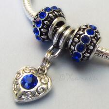 Sapphire Blue September Birthstone European Charm Beads For Large Hole Bracelets