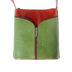 TJS Genuine Leather Crossbody Handbag Handmade Italy Florence Dark Green Brown