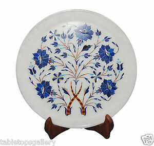 """9""""x9"""" Marble Serving Plate Rare Lapis Inlay Marquetry Mosaic Décor Gift H1307"""