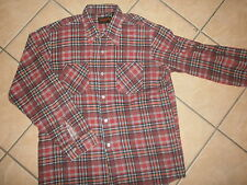 vtg 70s 80s MONTGOMERY WARD FLANNEL SHIRT Classic Red Plaid Lumberjack Grunge L