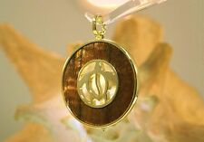 39mm Gold Plated On Brass Inlaid Hawaiian Koa Wood Reversible Turtle Pendant #4