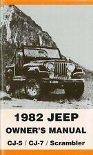 1982 Jeep CJ-5 CJ-7 Scrambler Owners Manual User Guide Reference Operator Book