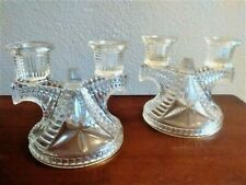 PAIR FEDERAL DEPRESSION GLASS WIGWAM CLEAR DOUBLE CANDLE HOLDERS
