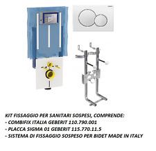 GEBERIT 110.790.00.5 Combifix vaso sosp+Fissaggio sospeso bidet+Placca Sigma 01