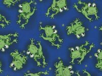BTY Fabri-Quilt HAPPY FROGS on Blue Print 100% Cotton Quilt Craft Fabric Yard