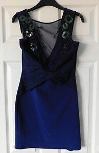 LIPSY Navy Blue Sequin Sleeveless Bodycon Party Dress Size UK 12 EUR 38