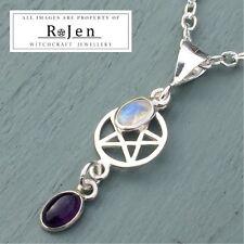 925 Argento Sterling Pentagramma & Ametista Rainbow Moonstone Ciondolo Wicca Pagan
