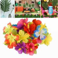 48x Luau Tropical Hawaiian Silk Hibiscus Colorful Flowers Decor Pool Beach Party