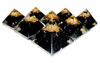 Tourmaline Crystal Mini Orgonite Pyramid Natural Gemstone hand Crafted Black