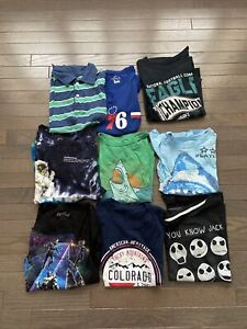 Lot Of 9 Boys Graphic T-Shirts Size Medium 7-8