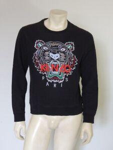 KENZO Paris Classic Tiger Logo Black Embroidered Cotton Sweatshirt Size MEDIUM