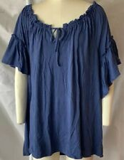 Denim 24/7 18/20 Plus Size Knit Peasant Ruffle Top Navy Blue Short Sleeve Jersey
