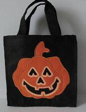 "Halloween Trick or Treat Black Felt Bag Orange Pumpkin Face 7 3/4"" x 8"""