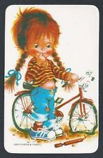 #920.134 Blank Back Swap Cards -MINT- Girl with bicycle