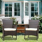 2pc Wicker Rattan Armchair Seat W/removable Cushions Patio Garden Furniture Set