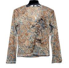 Vera Moda - XS/S - Multi-Color Paisley Print  L/S - Ruffle Boho Knit Top